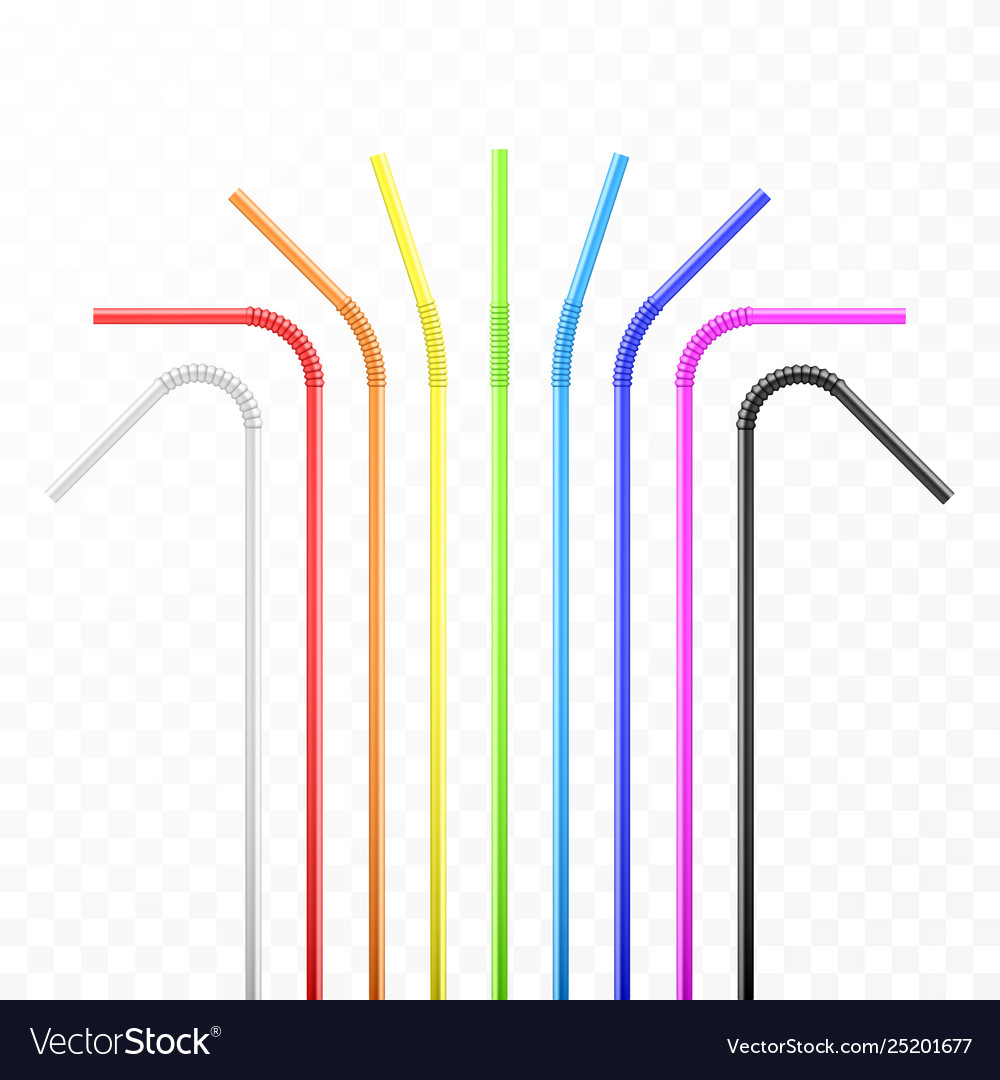 Set rainbow colorful flexible cocktail straw