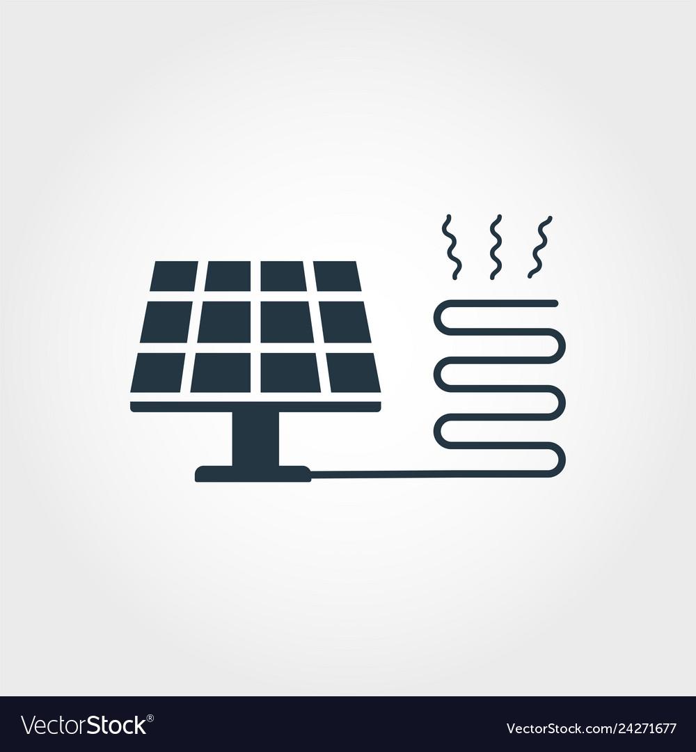 Solar heating creative icon monochrome style
