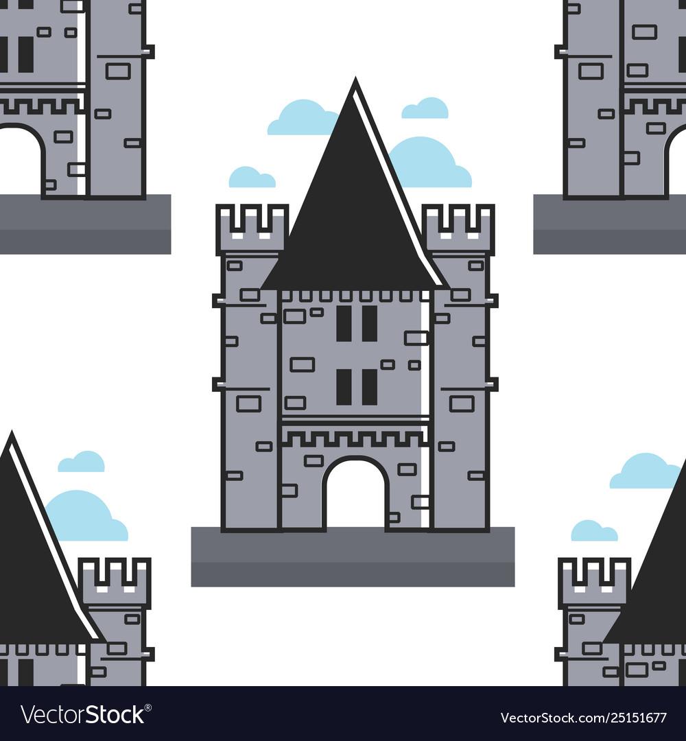 Swiss brick tower seamless pattern chillon castle
