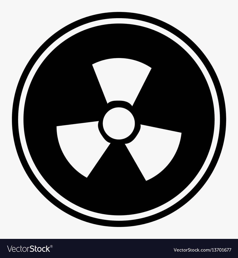 Warning colorless round sign of radiation on white