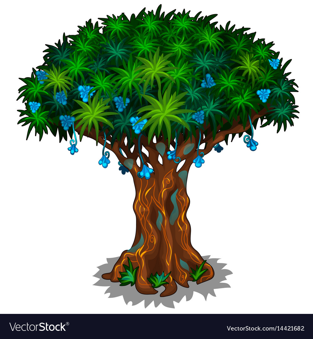 Big fairy tree with blue flowers and energy veins vector image izmirmasajfo