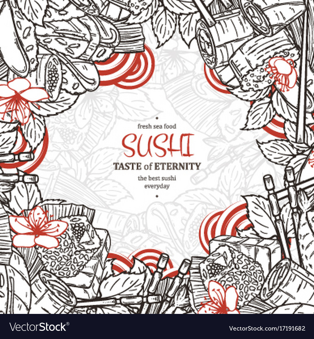 Doodle sushi restaurant menu design template