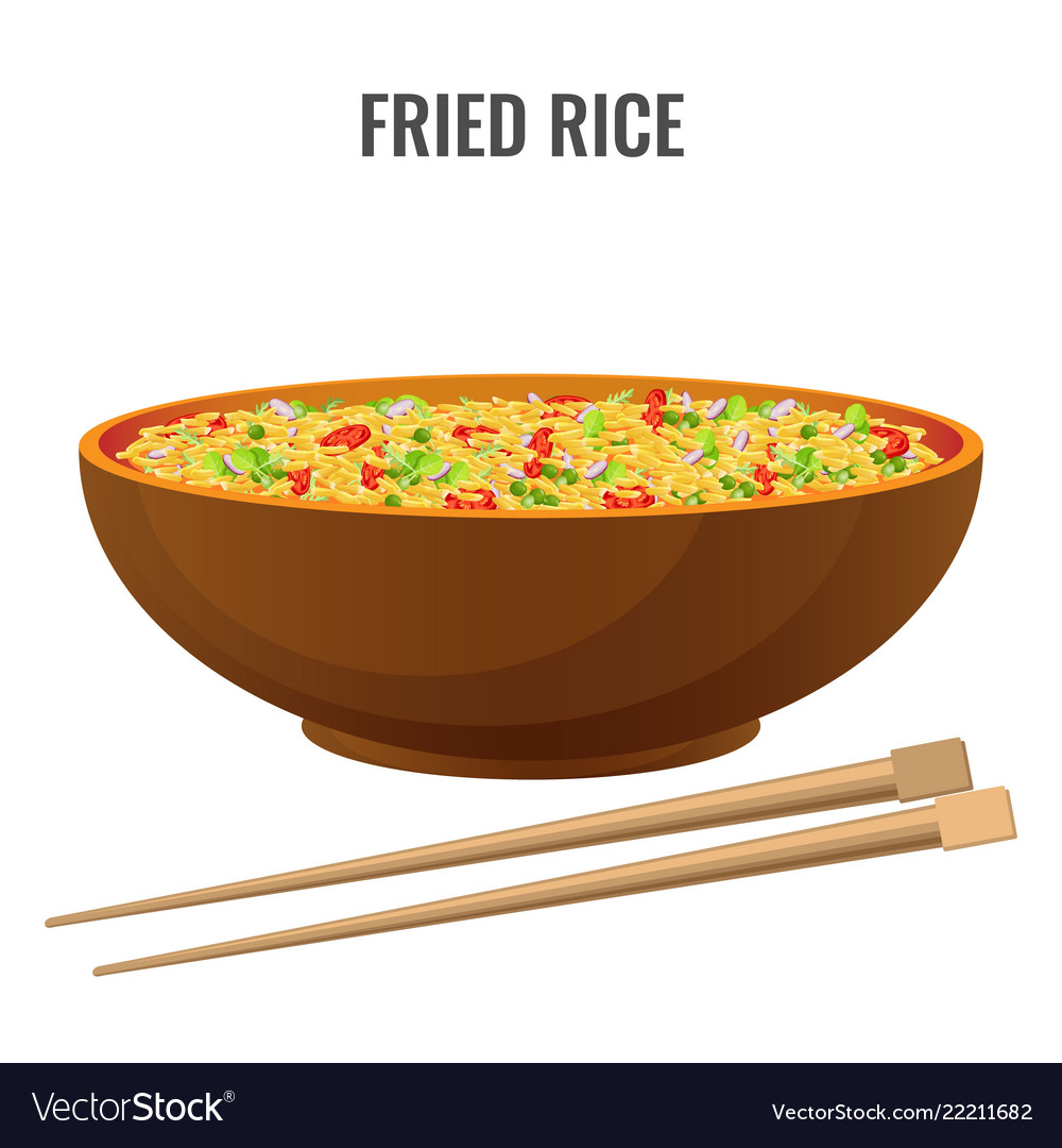 Fried rice bowl and chopsticks side view