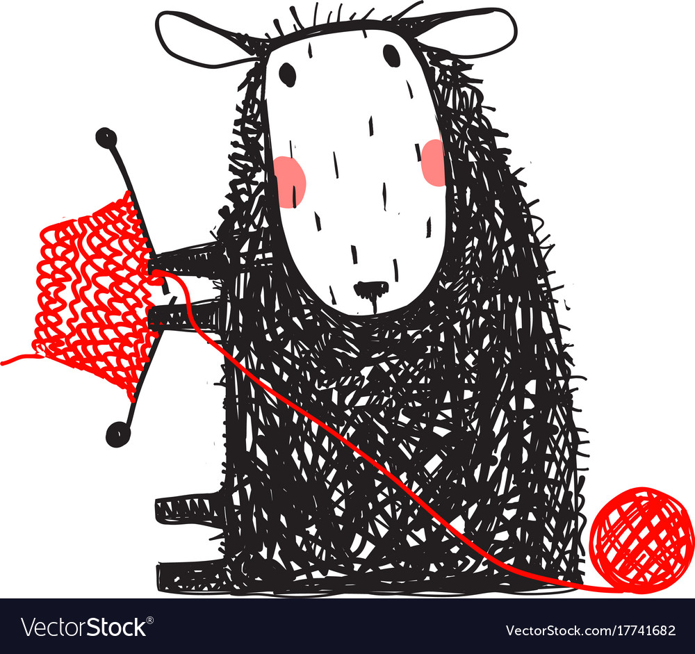Knitting cute sheep hand drawn vector image
