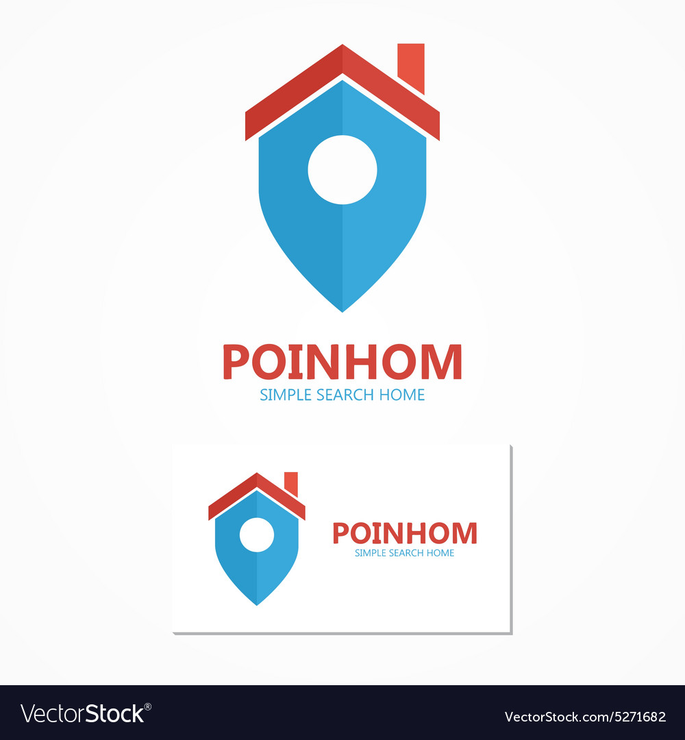 Logo combination of a place point and house