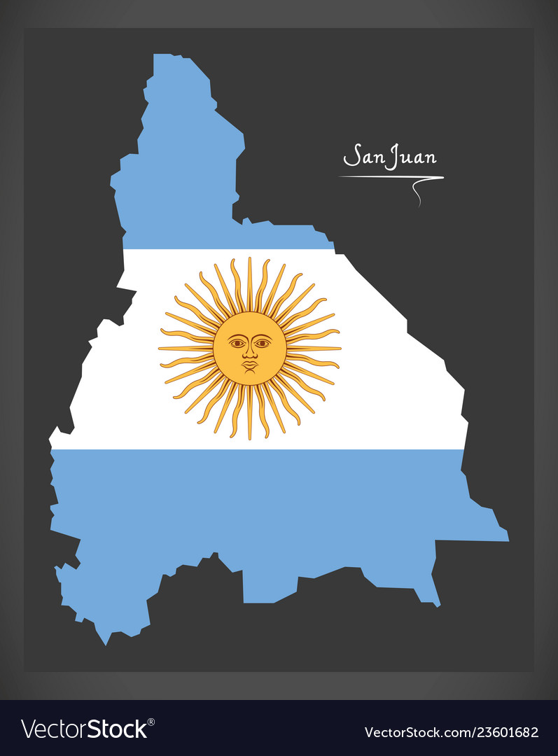 San juan map of argentina with argentinian