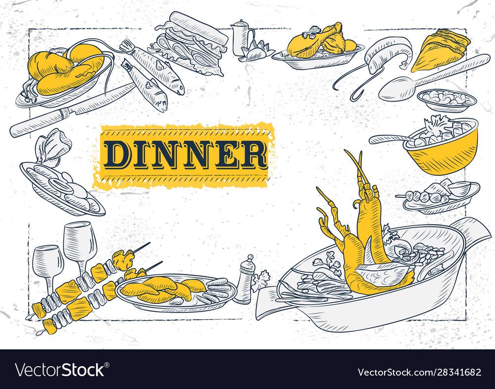 Template different types dinner item