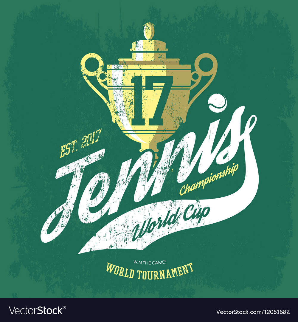 Tennis cup or trophy and flying ball banner vector image