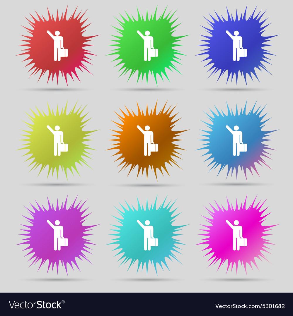 Tourist icon sign A set of nine original needle