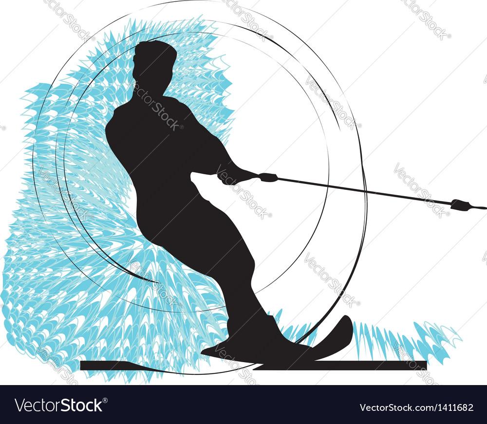 Water skiing man vector image
