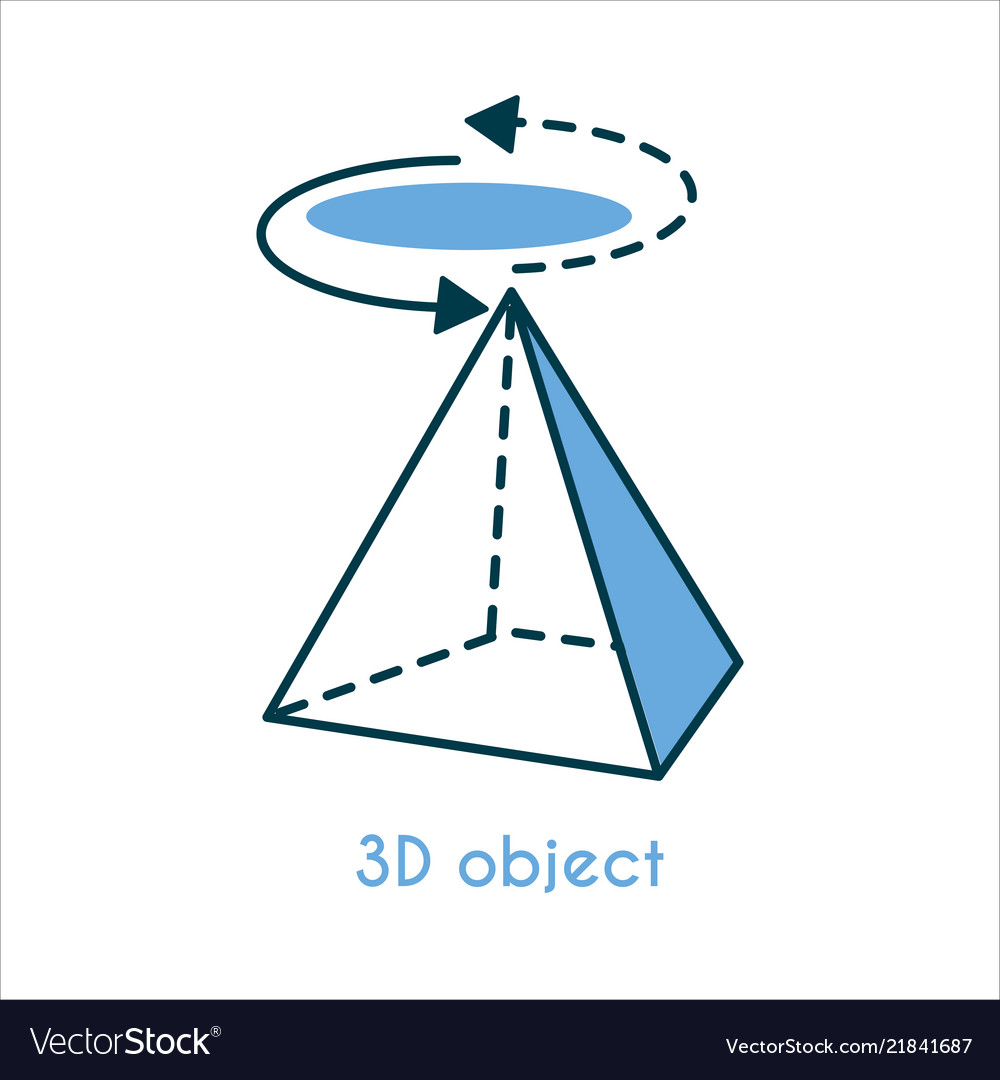 3d object flat line icon