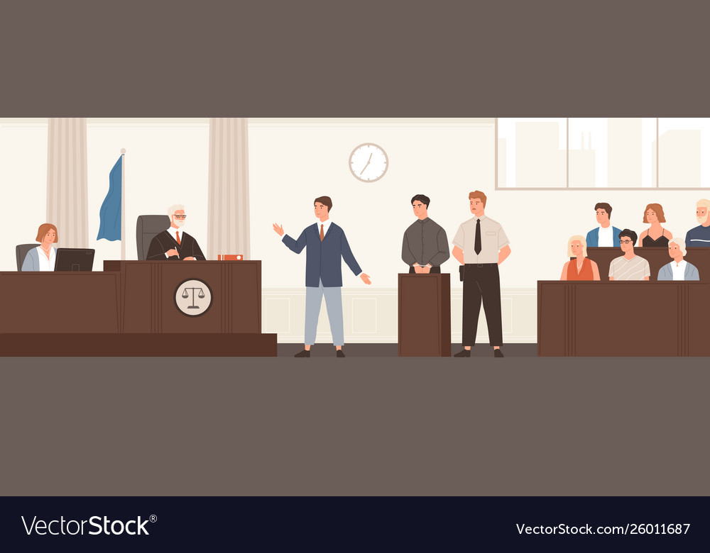 Advocate or barrister giving speech in courtroom