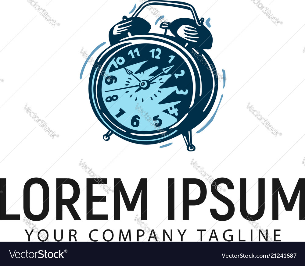 Alarm clock hand drawn logo design concept