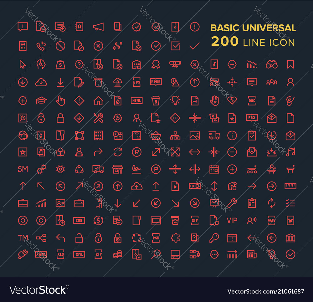 Basic universal line icon set in red on black