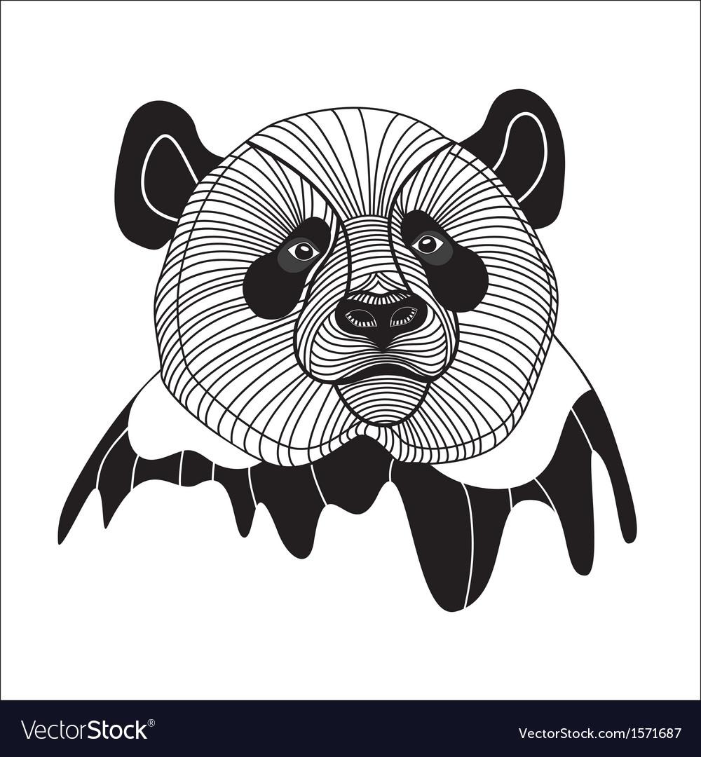Bear panda head animal line symbol for mascot embl