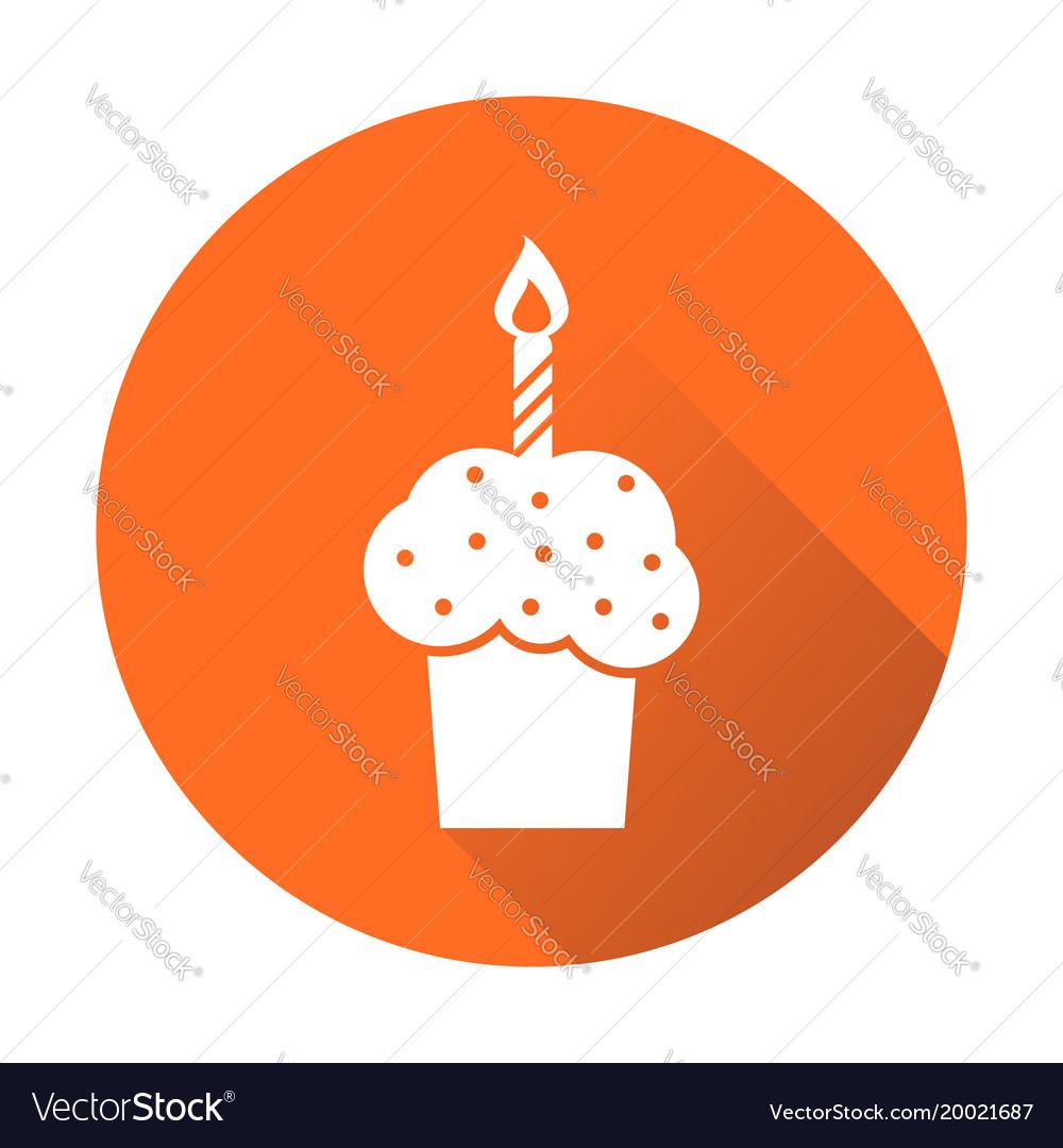 Birthday cake flat icon fresh pie muffin on