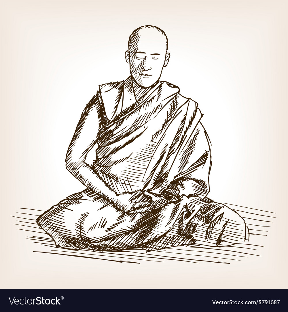 Buddhist Monk Sketch Style Royalty Free Vector Image