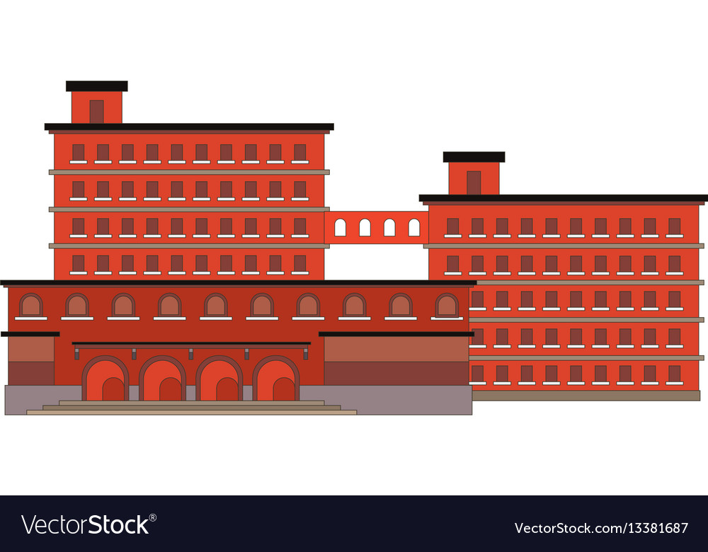 Factory building red icon in the flat style