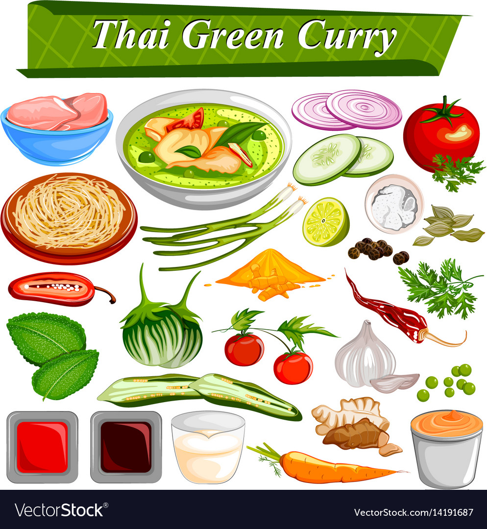 Food and spice ingredient for thai green curry vector image