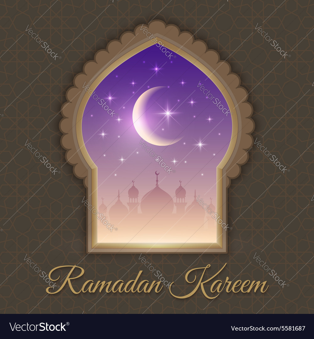 Greeting cards with night landscape with mosques vector image m4hsunfo