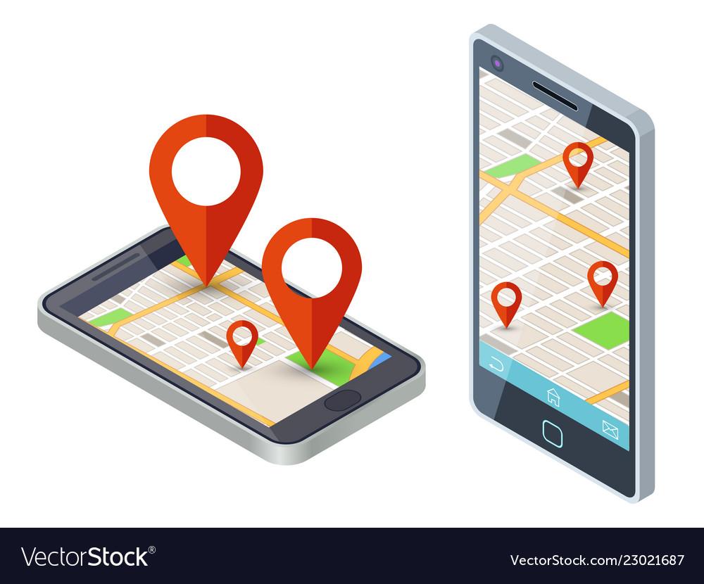 Isometric mobile city map app design