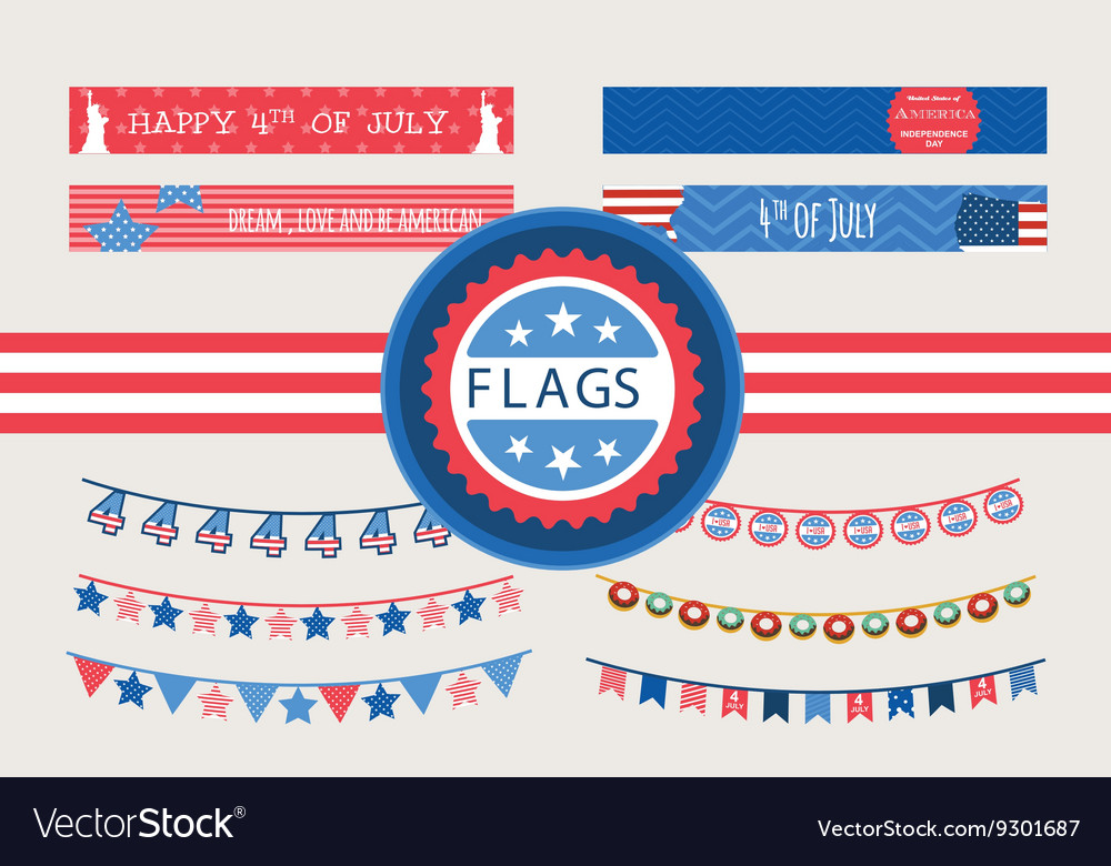Patriotic bunting flags and straw flags 4th of