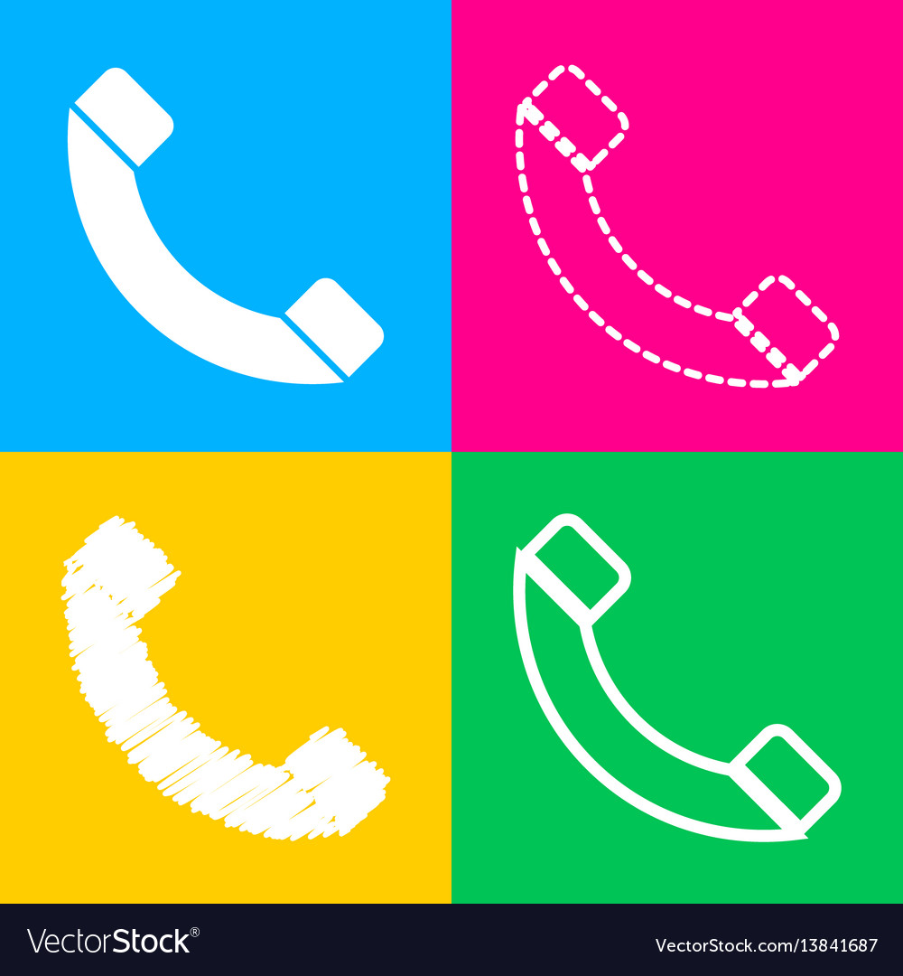 Phone sign four styles of icon on