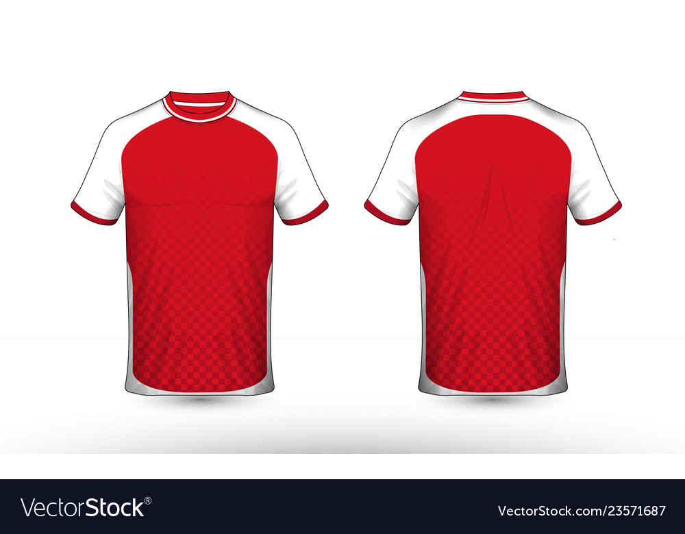 Red and white layout e-sport t-shirt design