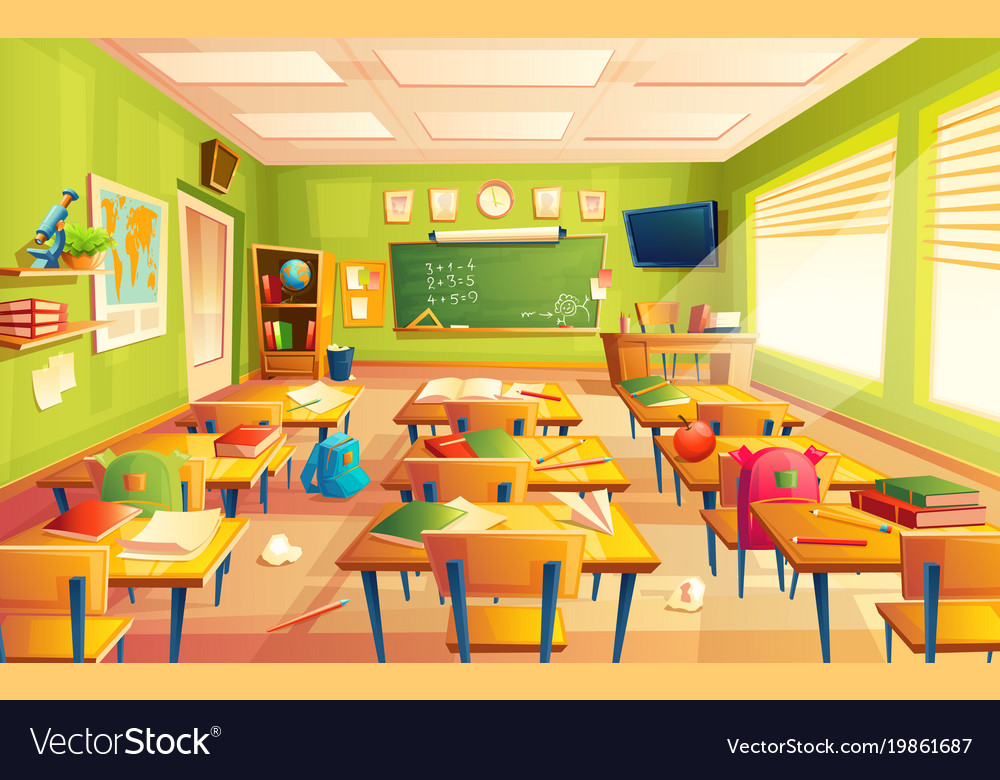 School Classroom Interior Math Training Vector Image