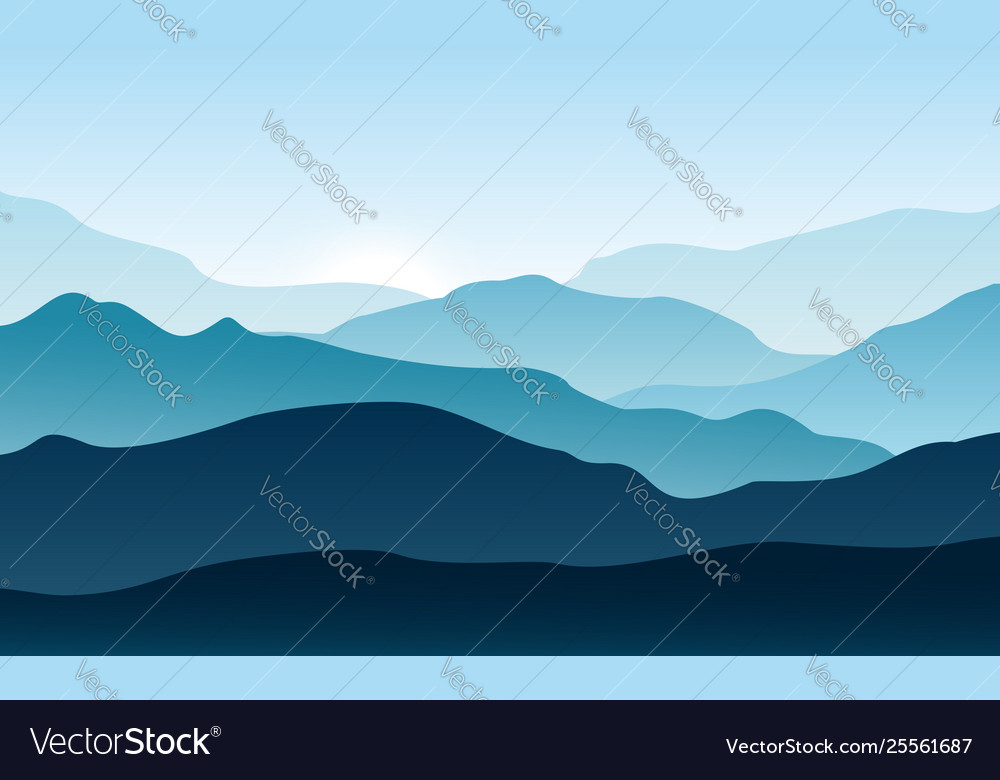 Silhouettes mountains with fog forest