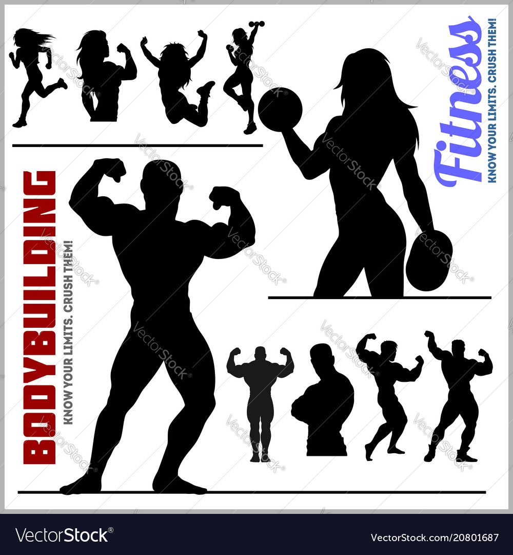 Silhouettes of bodybuilders and fitness girls