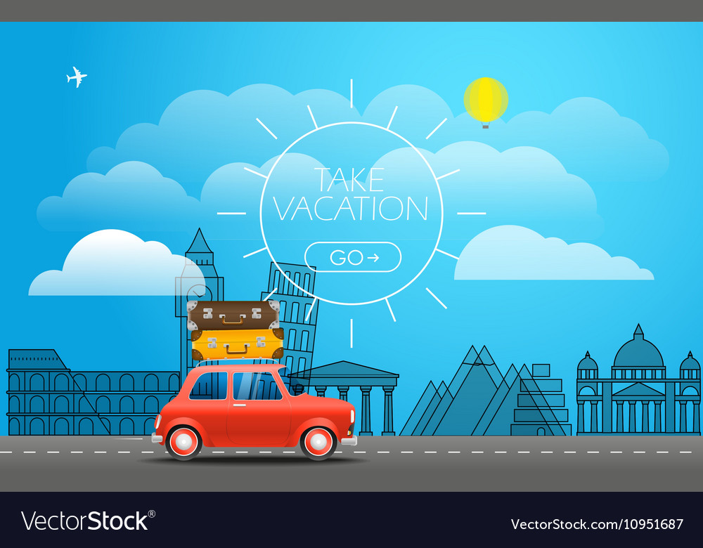 Take Vacation travelling concept Flat design Red