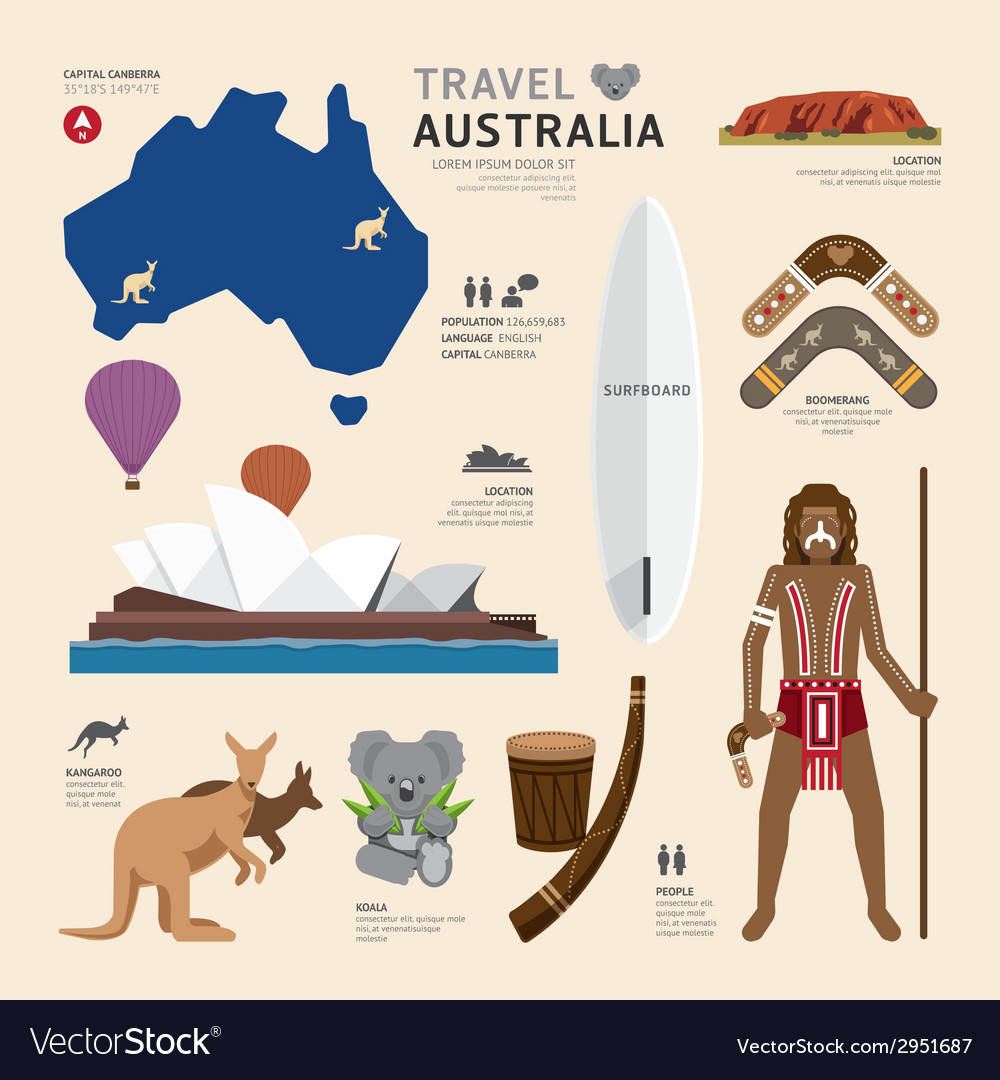 Travel Concept Australia Landmark Flat Icons