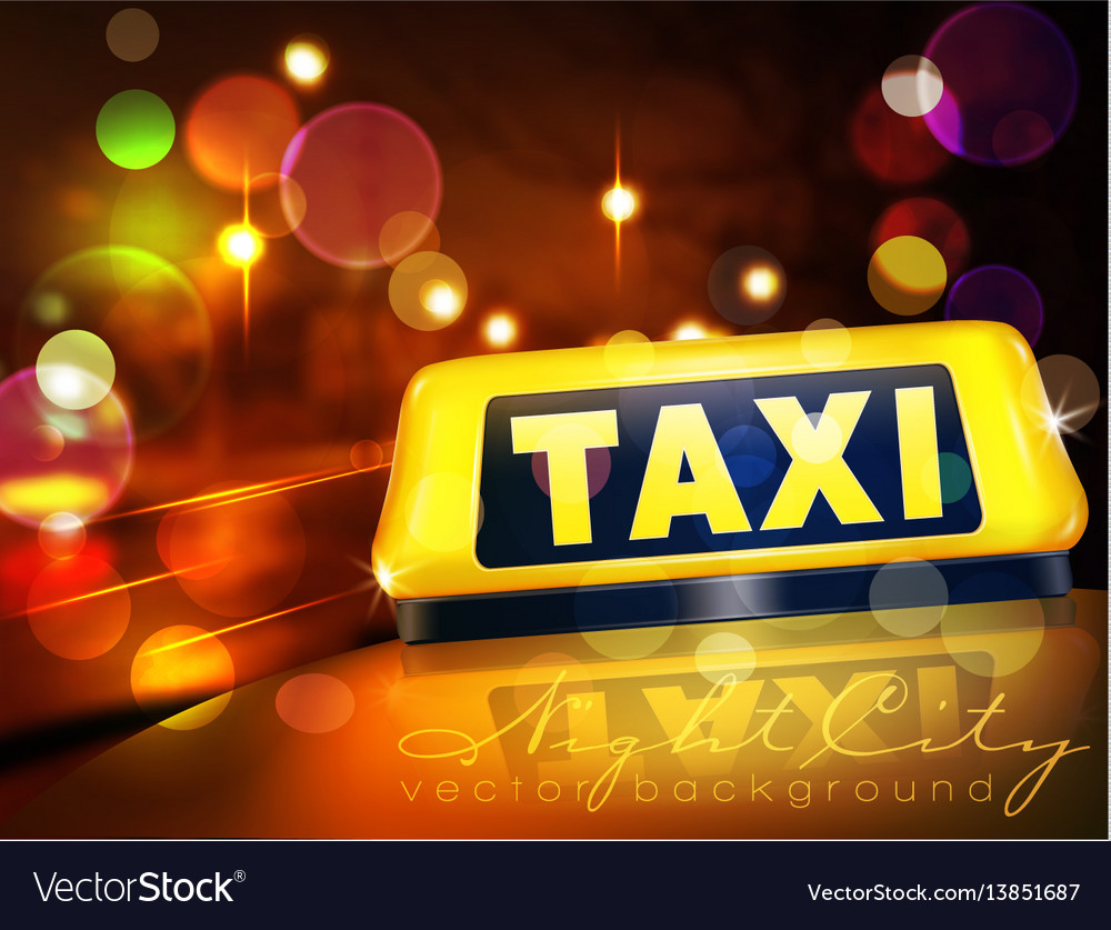 Yellow taxi sign on the car against the lights of