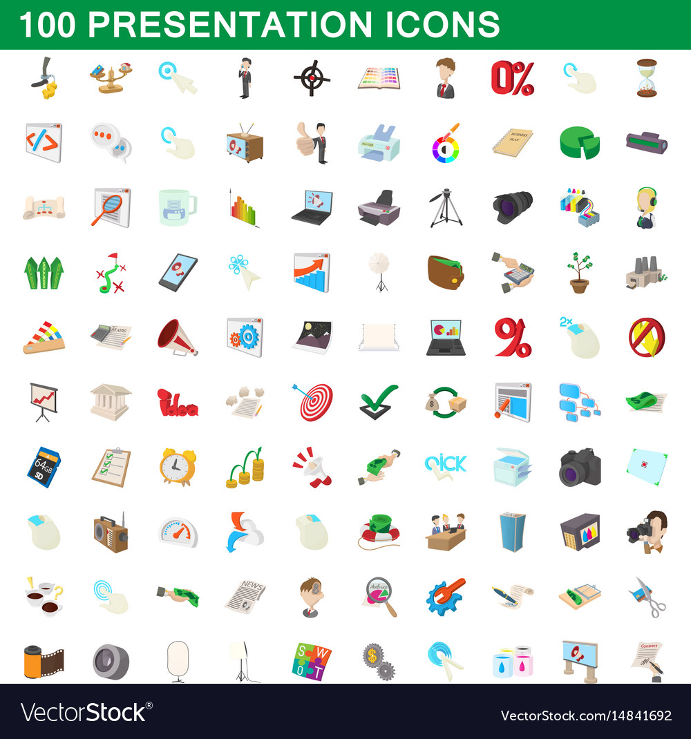 100 presentation icons set cartoon style