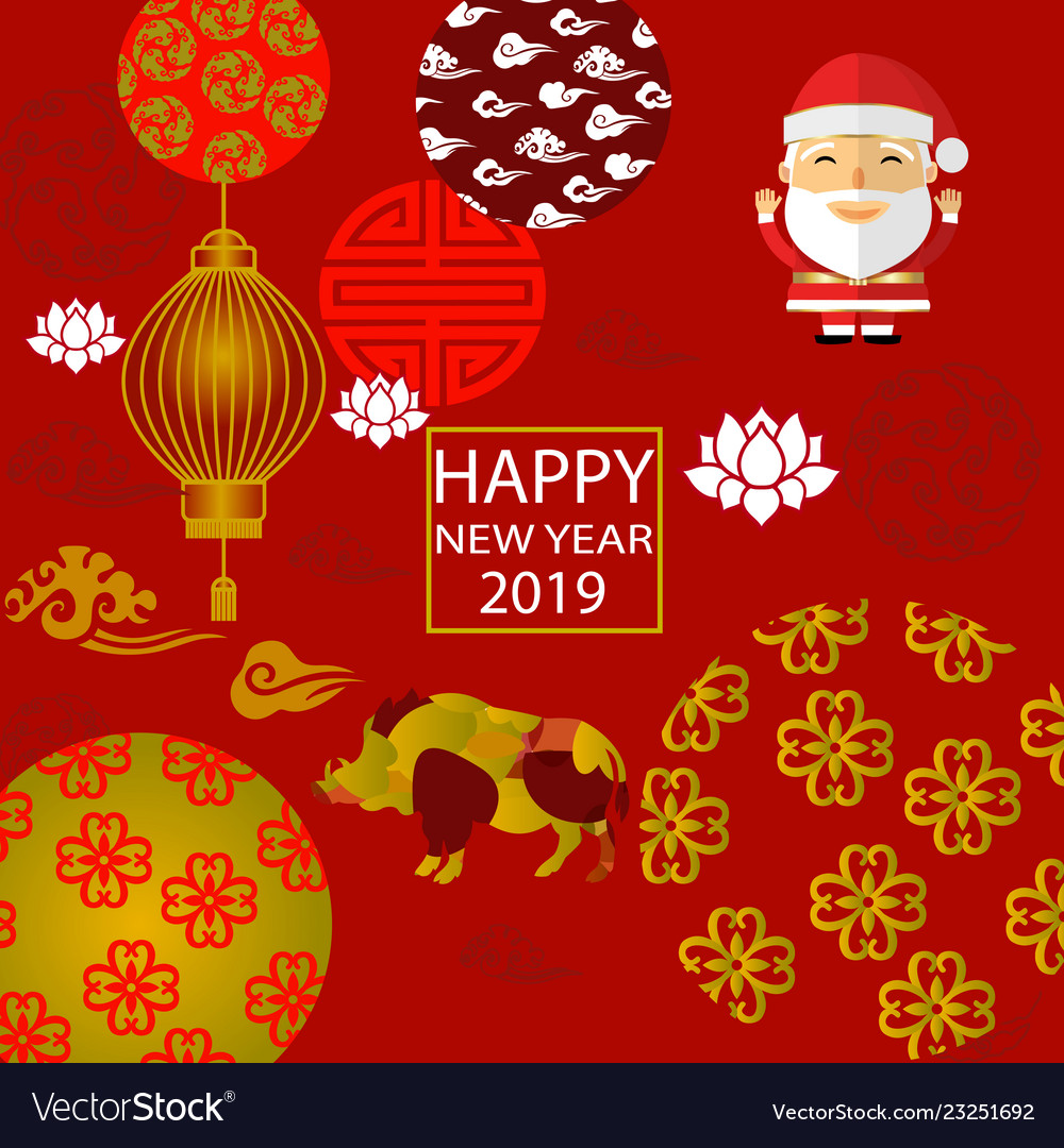 2019 new year santa claus year of the boar