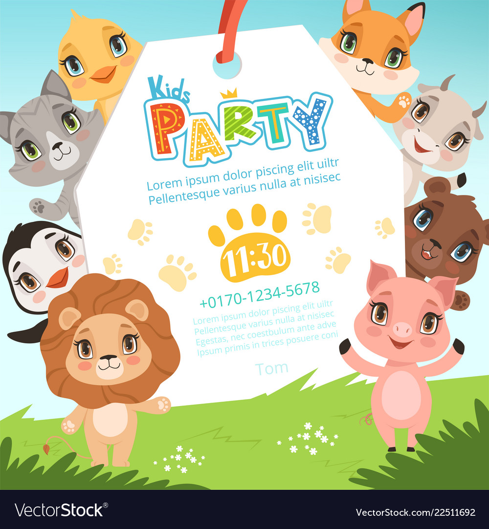Animals kids invitations cute funny jungle