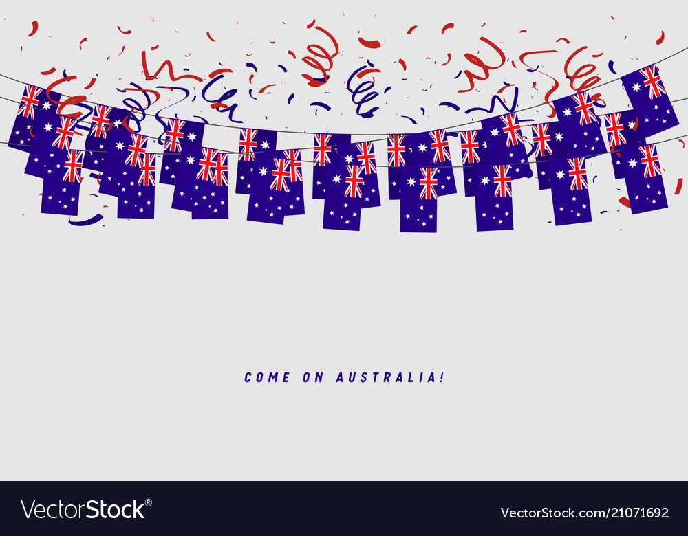 Australia garland flag with confetti