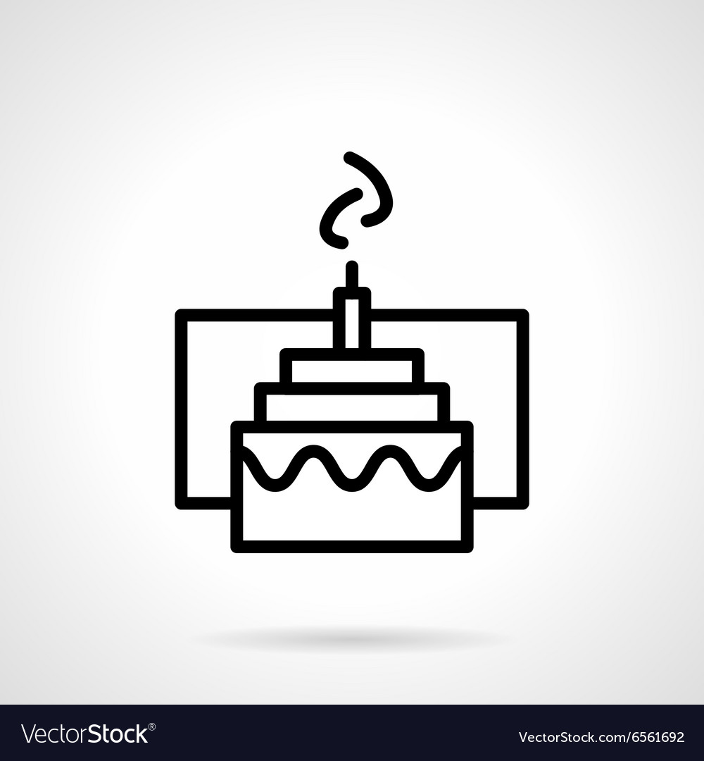 Cake with candle simple black line icon