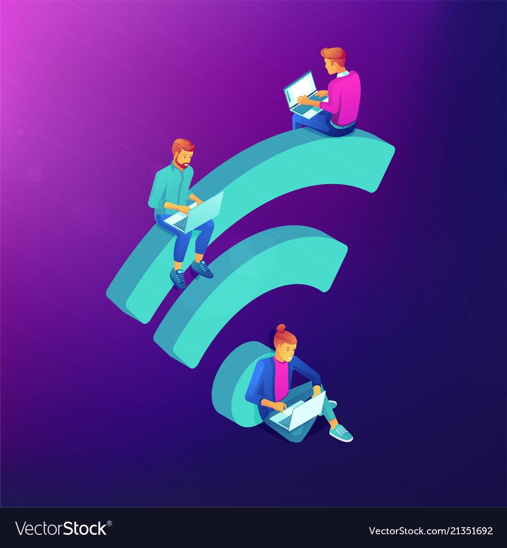 Free wifi hotspot isometric concept