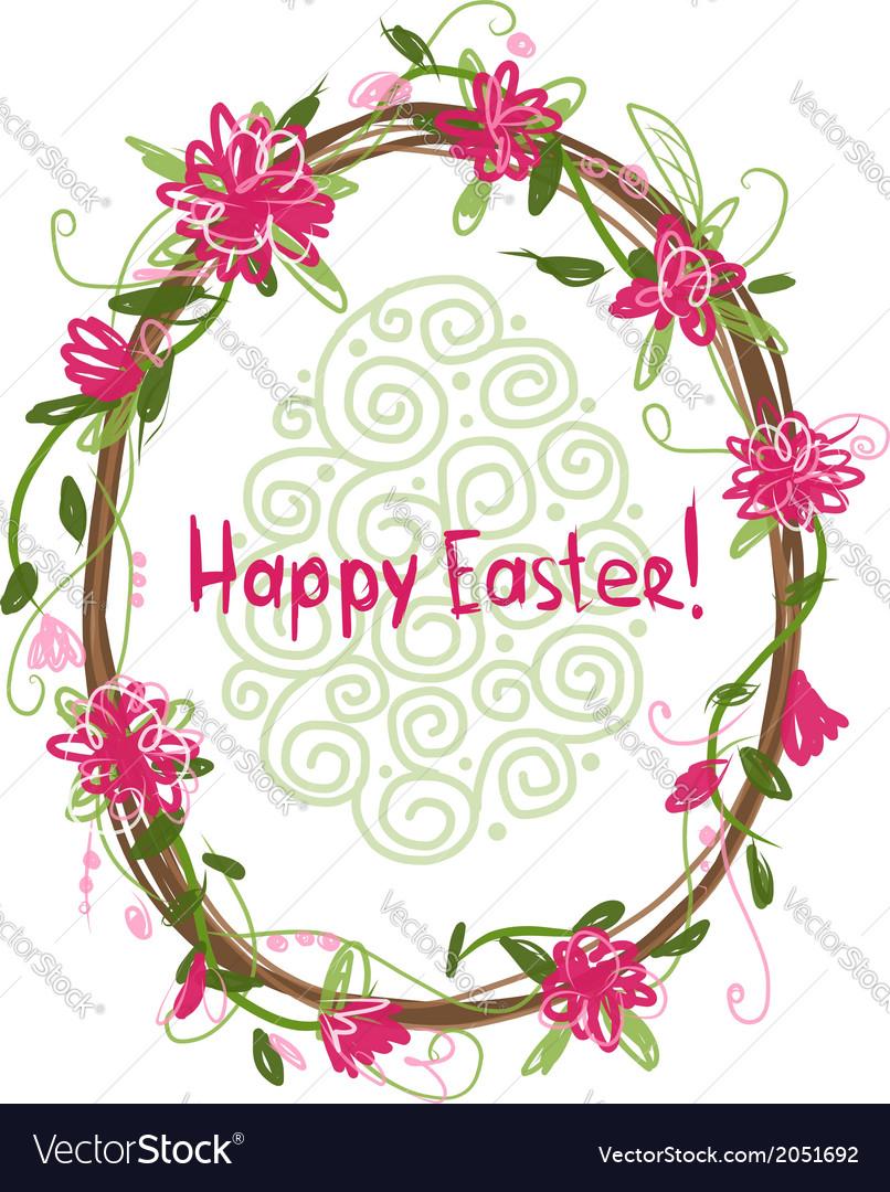 Happy Easter Floral frame for your design vector image