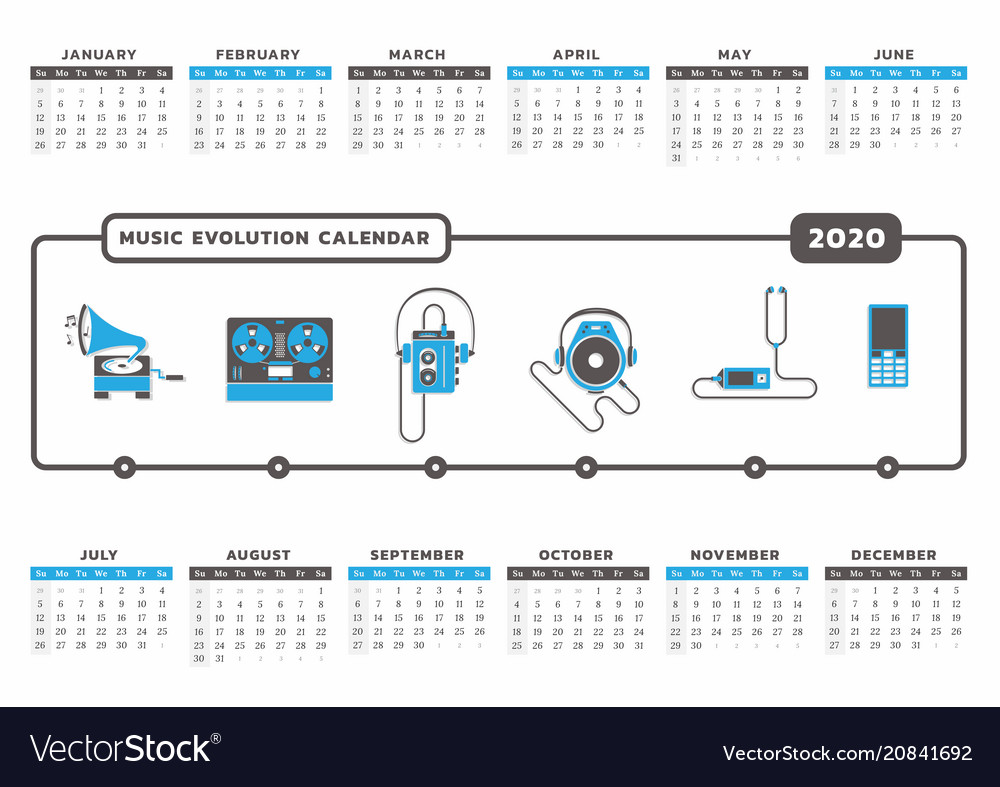 Music Calendar 2020 Music evolution calendar 2020 Royalty Free Vector Image