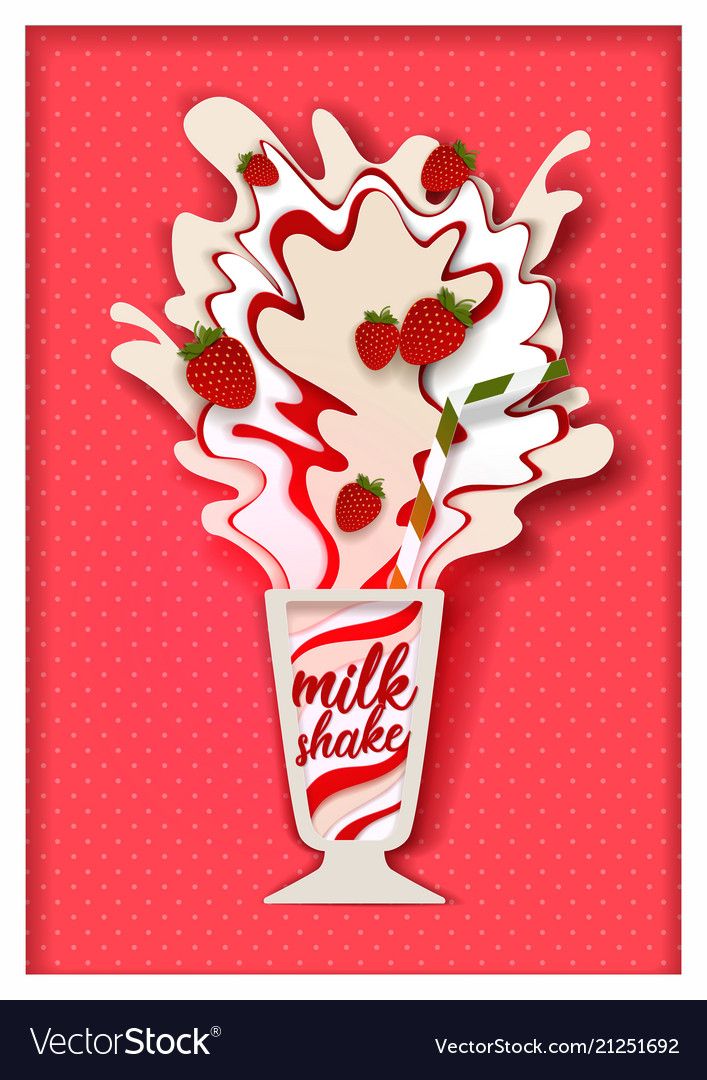Paper cut strawberry flavored milkshake