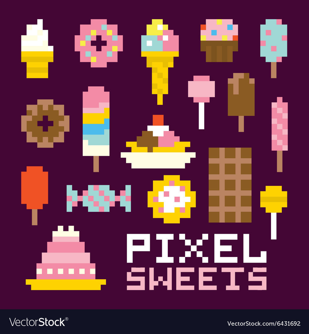 Pixel Art Isolated Sweets Set Vector Image