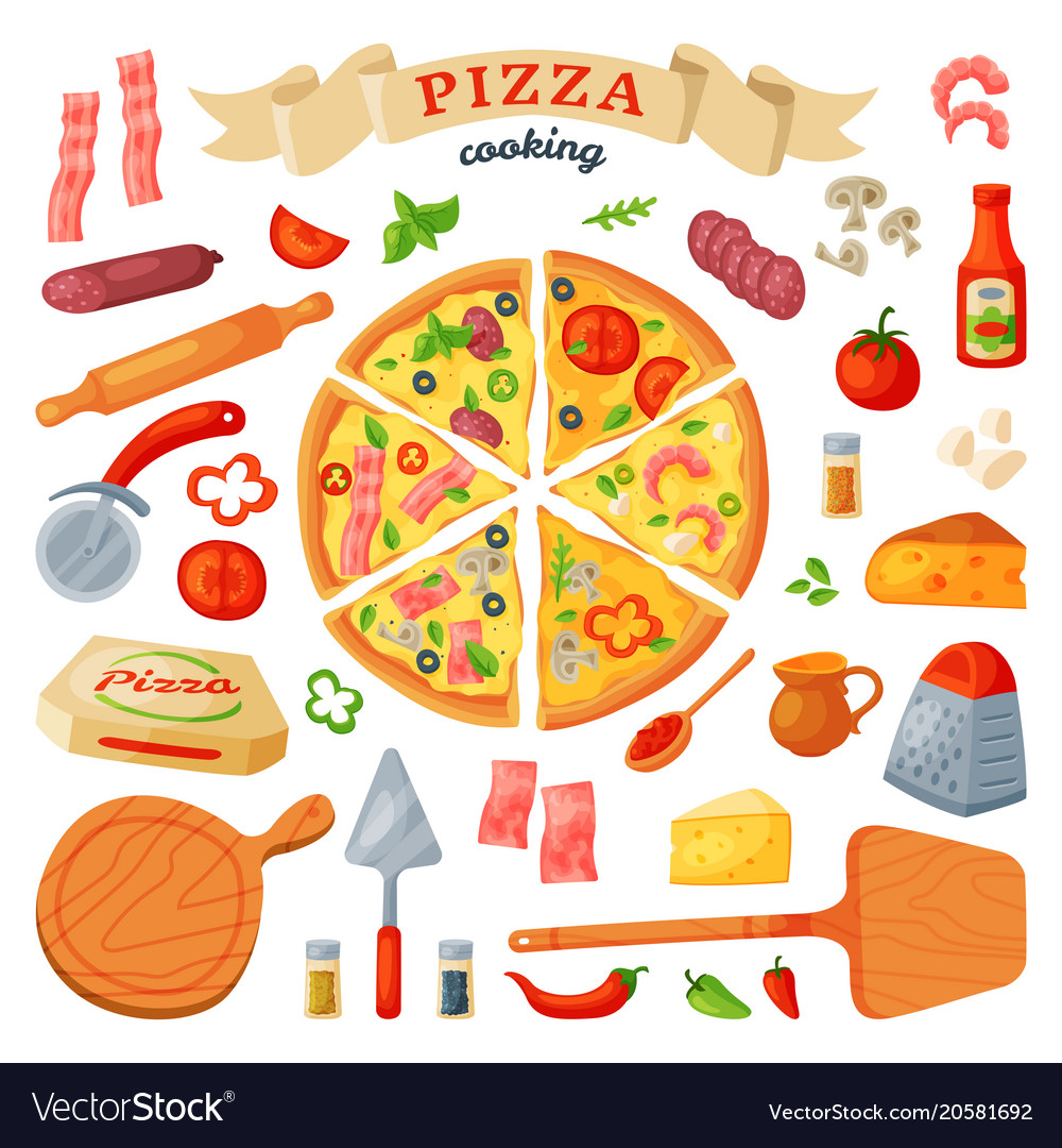 Pizza italian food with cheese and tomato