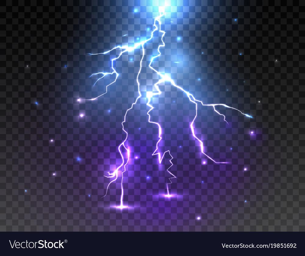 Realistic Lightning On Transparent Background Vector Image
