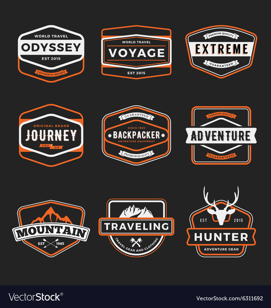Set of badge logo outdoor adventure and traveling