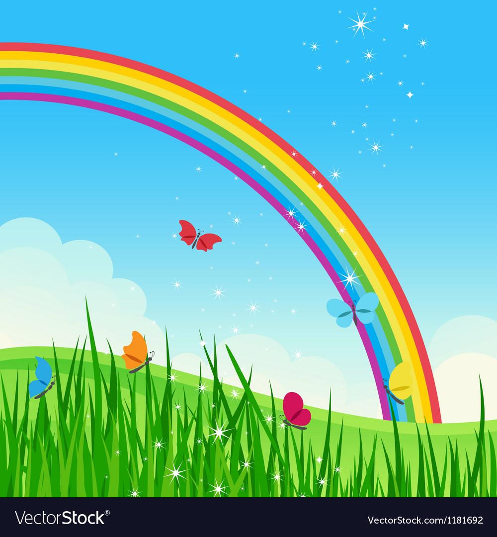 Shiny rainbow meadow landscape vector image