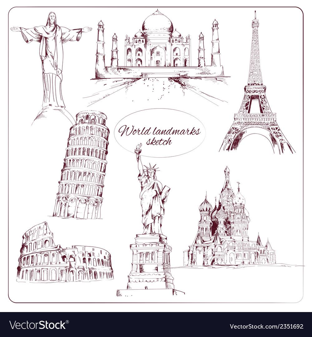 World landmark sketch