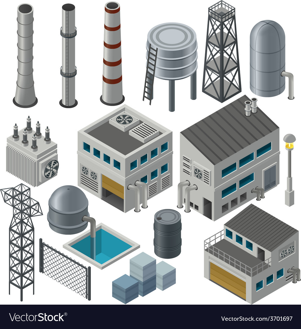 Collection of isometric industrial buildings